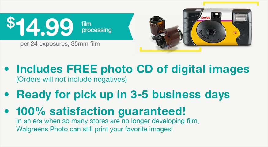 $14.99 Film Processing per 24 exposures, 35mm film. Includes FREE photo CD of digital images. (Orders will not include negatives) Ready for pick up in 3-5 business days. 100% satisfaction guaranteed!
